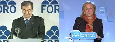 Francisco Álvarez Cascos y Mercedes Fernández (Cherines) tras conocer el resultado electoral | Imagen TV