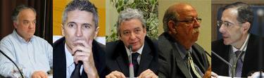 Los magistrados Sáez, Grande-Marlaska, Martínez Lázaro, Poveda y Guevara