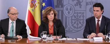 Rajoy, con Montoro y Soria. En primer plano, Nadal | Moncloa
