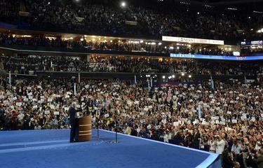 Lleno en el Time Warner Arena durante el discurso de Clinton en la convención demócrata. | EFE