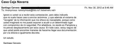 Correo electrónico de Santiago Cervera