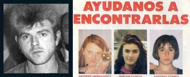 Miguel Ricart, junto al cartel de las tres niñas desaparecidas
