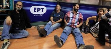 Protesta de los empleados de la televisión griega. | EFE