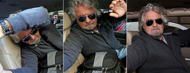 Grillo, cerrándole a la puerta del coche a la prensa.