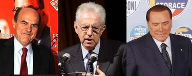 Pier Luigi Bersani, Mario Monti y Silvio Berlusconi.