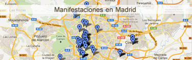 Mapa de las manifestaciones en Madrid