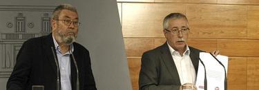 Cándido Méndez e Ignacio Fernández Toxo, este jueves, en Moncloa. | EFE