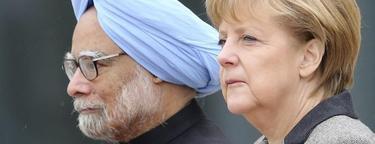 Angela Merkel junto con el primer ministro indio este jueves en Alemania | Efe