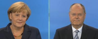 Los dos candidatos durante el debate