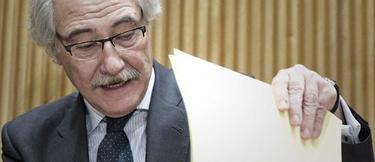 El expresidente de CCM Juan Pedro Hernández Moltó, hoy durante su comparecencia.