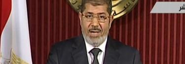 Mursi, en un momento de su discurso por televisión