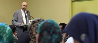 Nourredine Ziani, durante una charla en la Unión de Centros Culturales Islámicos de Cataluña. | EFE