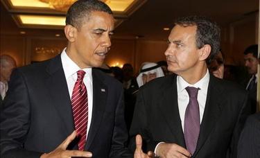 Zapatero y Obama, durante una celebración del G20   EFE