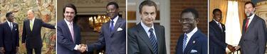 Obiang con el Rey, Aznar, Zapatero y Rajoy | Archivo/EFE