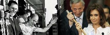 Perón y su mujer, Evita (izq.), junto a Néstor Kirchner y su mujer, Cristina Fernández | Archivo