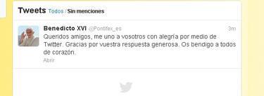 El primer 'tuit' de Benedicto XVI   @Pontifex_es