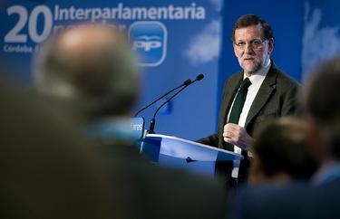 Rajoy, durante su intervención en la interparlamentaria. Tarek
