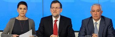 Rajoy, junto a Cospedal y Arenas, en un Comité Ejecutivo.