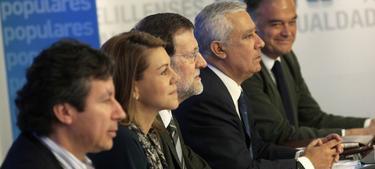 Mariano Rajoy, este sábado en la sede del PP | Tarek/PP