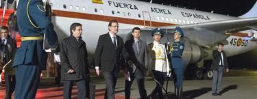 Mariano Rajoy, a su llegada a Kazajistán, este domingo   Moncloa/Diego Crespo