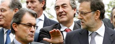 Mas y Rajoy, con empresarios, en una imagen de archivo.