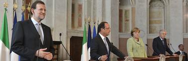 Rajoy, en la cumbre a cuatro. | EFE