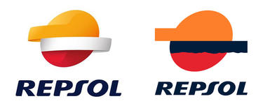El nuevo logo de Repsol, presentado este martes, junto al antiguo..
