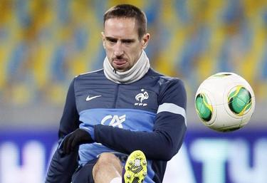 Franck Ribery, en un entrenamiento con Francia. | EFE