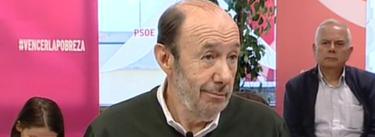 Alfredo Pérez Rubalcaba, este sábado en un acto sobre la pobreza | Imagen TV