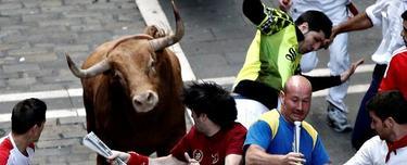 Varios mozos pasan apuros ante uno de los toros de la ganadería Torrehandilla- Torreherberos durante el último encierro de los sanfermines 2012 | EFE
