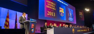 Sandro Rosell, en su discurso ante la Asamblea del Barcelona. | EFE