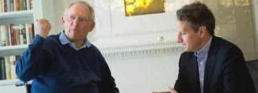 El ministro alemán de Finanzas, Wolfgang Schäuble, y el secretario del Tesoro de EEUU, Timothy Geithner.