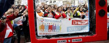 Una manifestación de trabajadores de Telemadrid, hace unos días |EFE