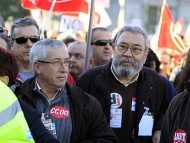 Fernández Toxo y Cándido Méndez, durante la manifestación | Efe
