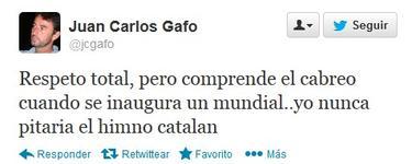 Uno de los tuits de Gafo pidiendo disculpas