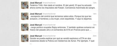 Algunos de los tuits del líder del SUP. | Twitter