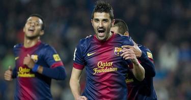 David Villa celebra un gol con el Barcelona.   Archivo