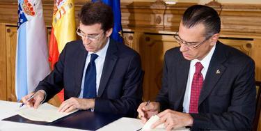 Firma del acuerdo entre Feijóo y Juan José Suárez Coppel | Xunta de Galicia
