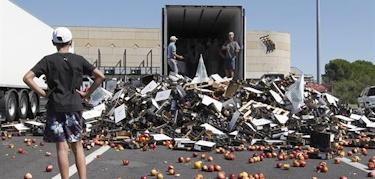 Agricultores franceses destruyen la carga de un camión español que transporta fruta y verduras. | EFE