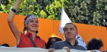 Aurore Martin, durante la marcha en Bayona | Efe
