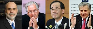 Los grandes banqueros centrales: Ben Bernanke (FED), Mervyn King (BoE), Masaki Shirakawa (BoJ) y Jean Claude Trichet (BCE).
