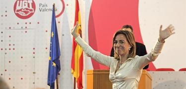 Chacón, tras confirmar que será candidata en la sede de UGT en Valencia | EFE