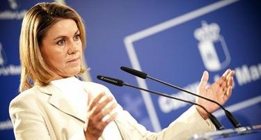 María Dolores de Cospedal, este miércoles, durante la presentación del plan de ahorro. | Archivo