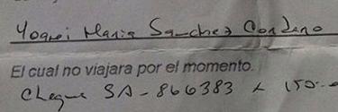 Documento colgado por Yoani Sánchez en el que se rechaza la solicitud.