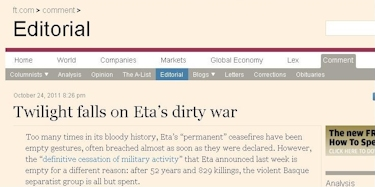'Financial Times' dedica su editorial al comunicado de  ETA.