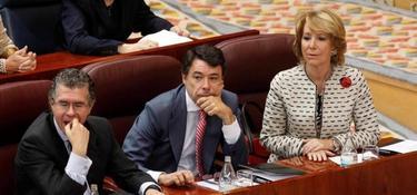 Granados, González y Aguirre, en la Asamblea de Madrid.