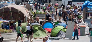La acampada en Sol. | Archivo