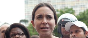 María Corina Machado, durante su acto de campaña este sábado.