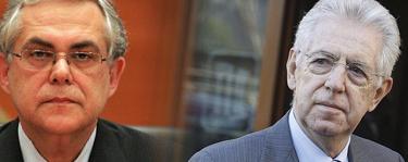 El primer ministro de Grecia, Lucas Papademos (izq.), y de Italia, Mario Monti.