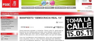 El manifiesto en la web del PSOE.